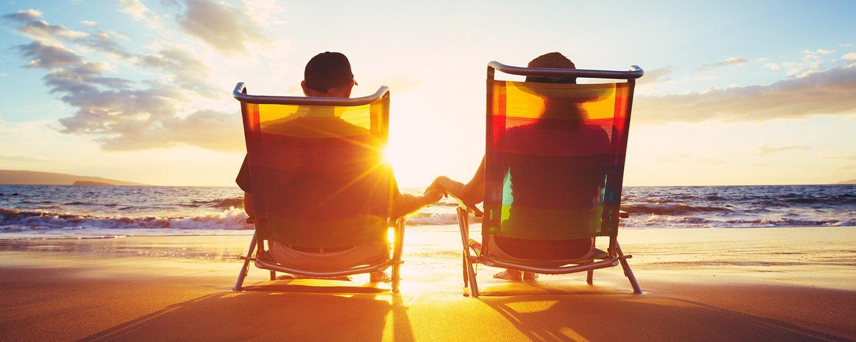 Beach retirement couple