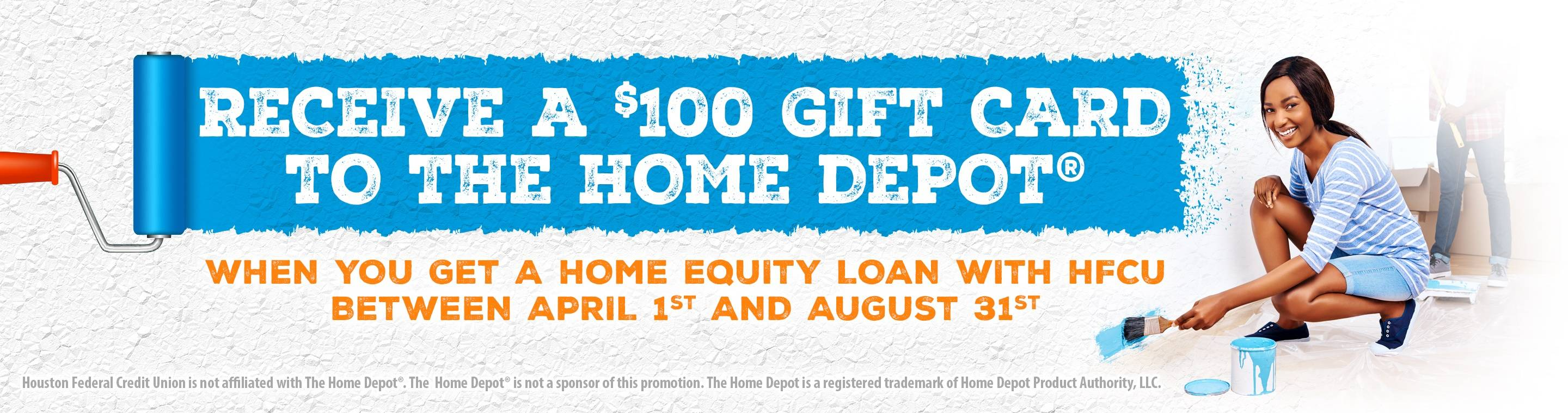 Home houston federal credit union recieve a 100 gift card to the home depot colourmoves