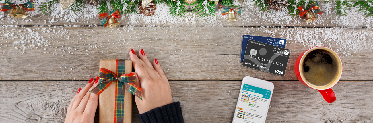 overhead gift, coffee, credit cards, shopping online phone