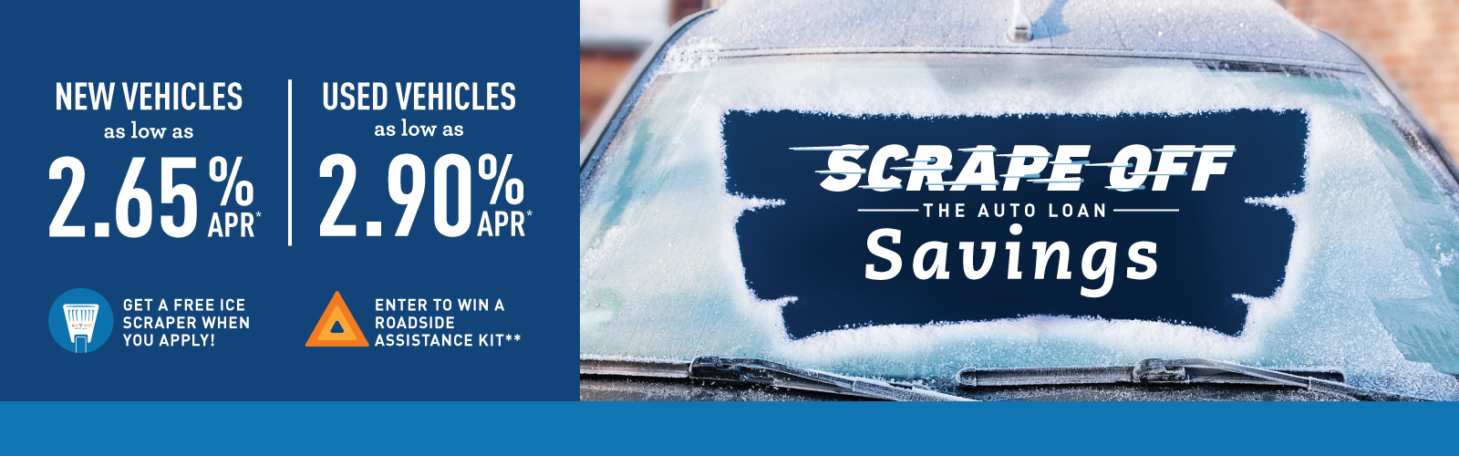 car windshield with ice scraped off to reveal auto savings