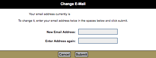 Change Email Window