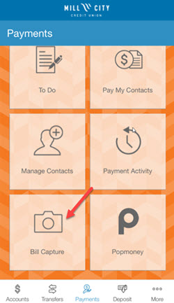 bill capture option within the Mobile Money app