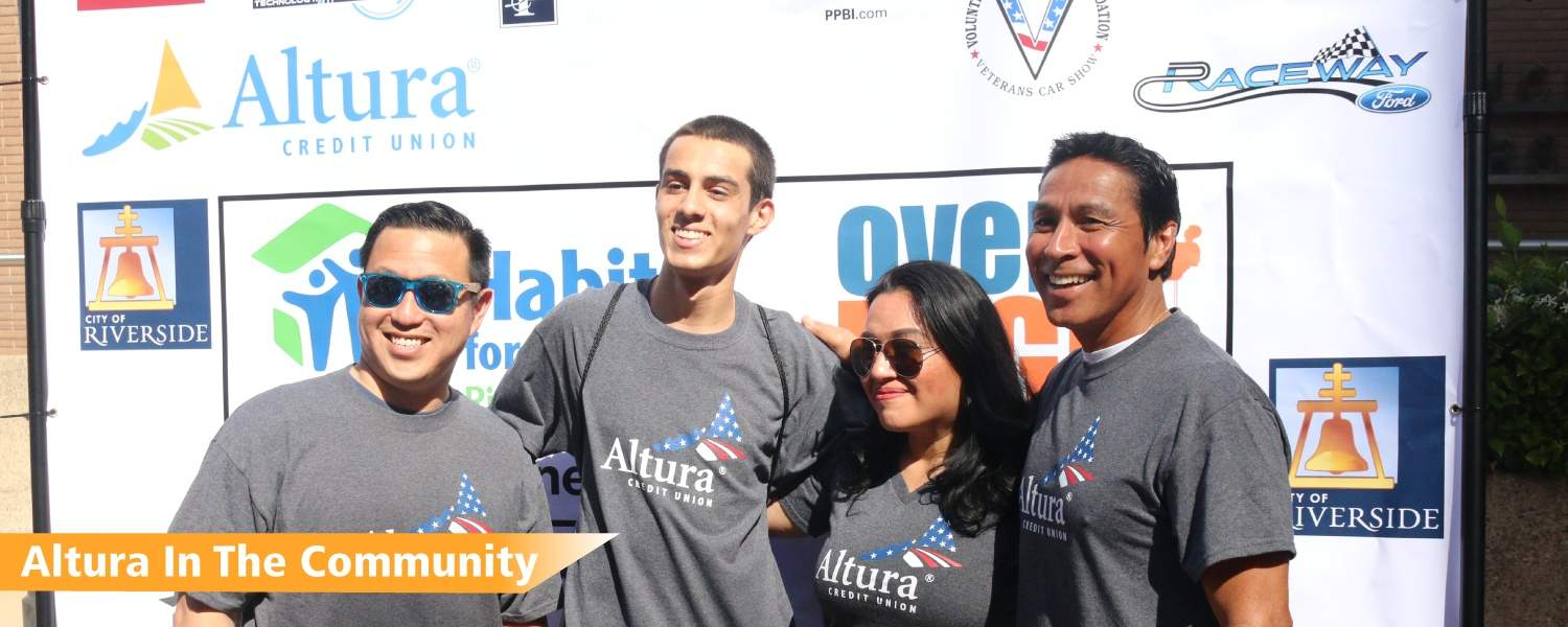 Photo of four Altura team member at the Over the Edge charity event