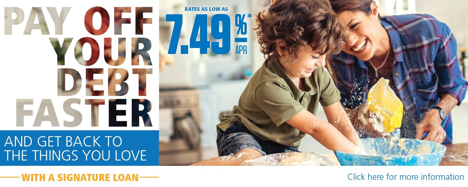 Mom and son cooking - Pay off your debt faster 7.49% APR