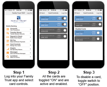 Depiction of the card controls feature within the Family Trust mobile banking application