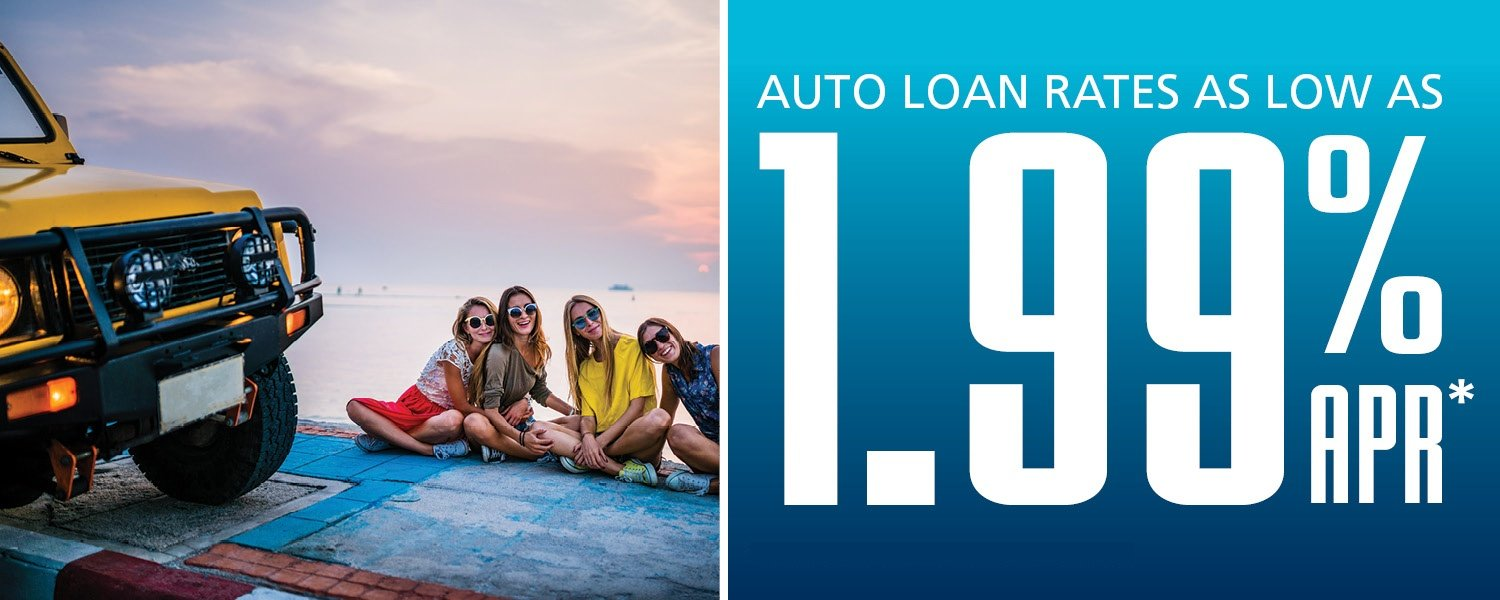 Auto Loan Rates As Low as 1.99% APR* - image of 4 girls sitting by the beach next to jeep
