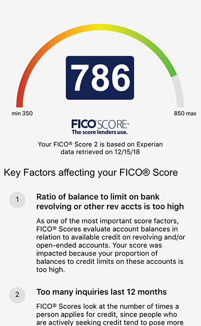 Display of Sample FICO Information for Mobile Banking