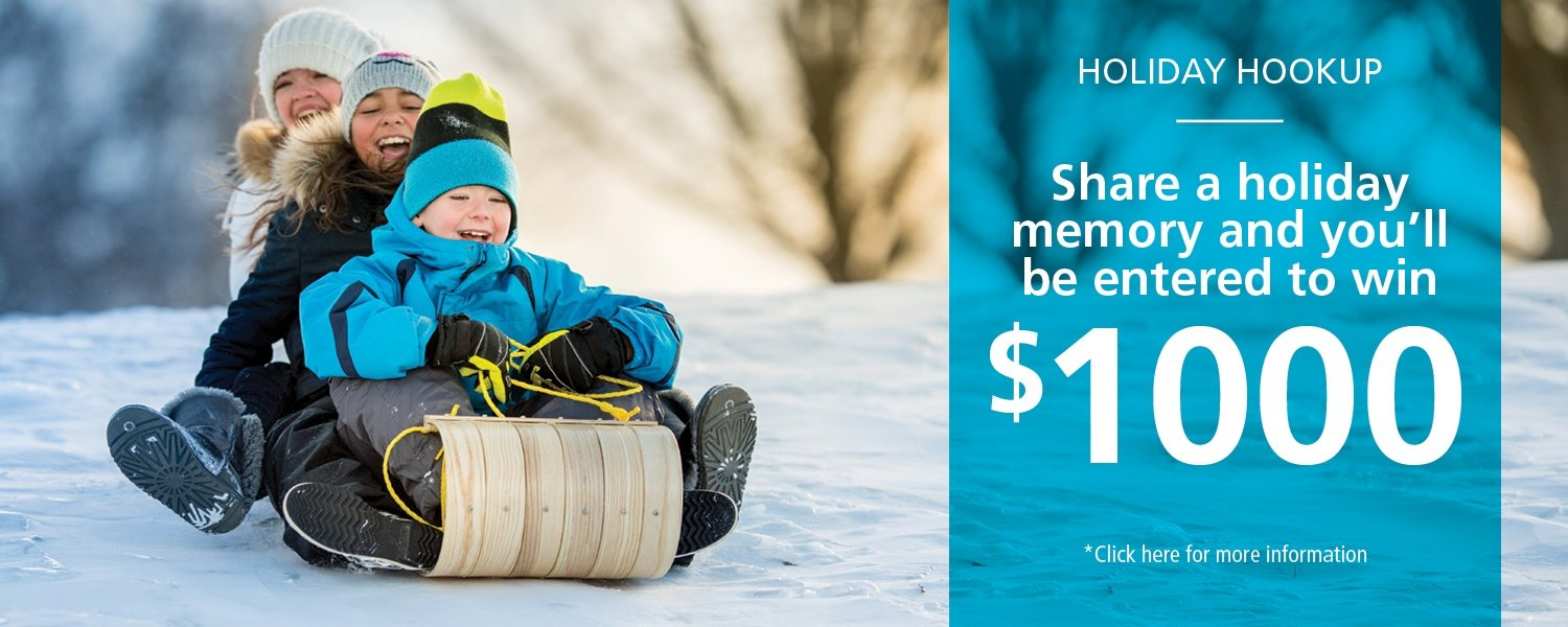 Kids on sled - Holiday hookup, share a holiday memory for a chance at $1,000. click here for more details