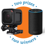 GoPro and Amazon Echo with text that says two prizes, two winners.