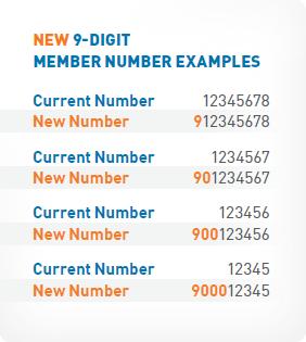 9 digit member number examples