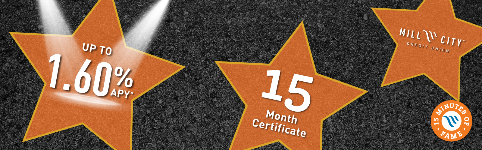 orange stars with special 1.60% APY for 15 month certificate