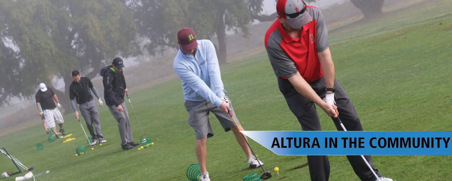 five golfers in a row putting - altura in the community