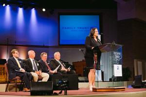 Penny Pratt, CEO, addressing audience