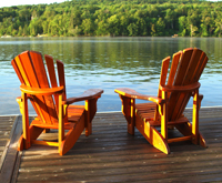 Adirondack chairs lake medium