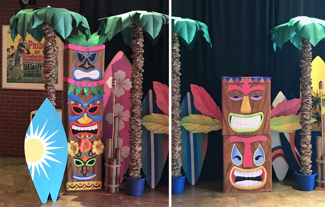 Large Tiki and Hawaiian Decorations for Cardinals Care Christmas Party