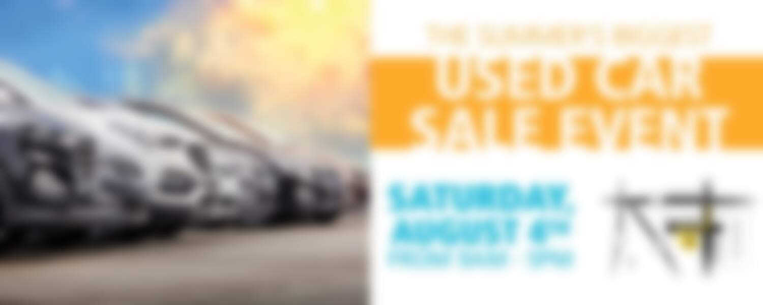 The summer's biggest used car sales event - image of cars in line - august 4th, 9am to 5pm