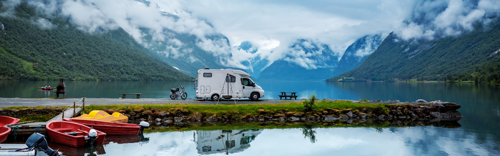 RV with mountains in the background