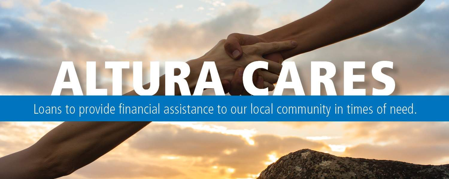 Image of hand pulling up someone else - Altura Cares; loans to provide financial assistance to our local community in times of need